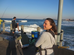 One the pier with the Fisherman.  They were catching sole fish
