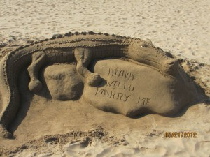 People build incredible sand structures.  This one includes a marriage proposal