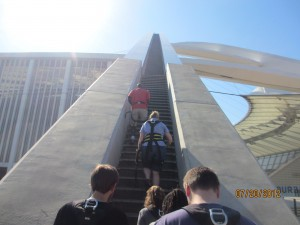 First we had to climb 300 stairs.  We were attached to the staircase with a cable that had to constantly be pulled up.