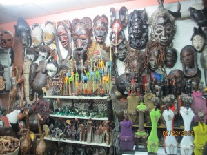 Masks and carvings in a local market for tourists