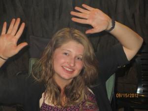 Danielle doing a happy dance