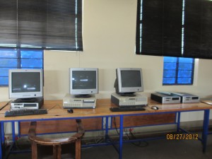 These are the three computers in the whole school that work