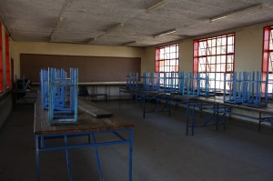 The science lab as stools and tables instead of desks and chairs.
