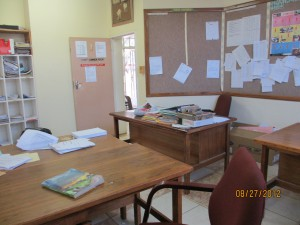 The back desk is mine - which I share with my counterpart.  This is where children come to get counselling.  Not much privacy.