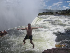 John leaping into the Devils Pool