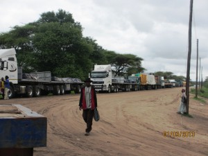 Trucks lined up to cross the River